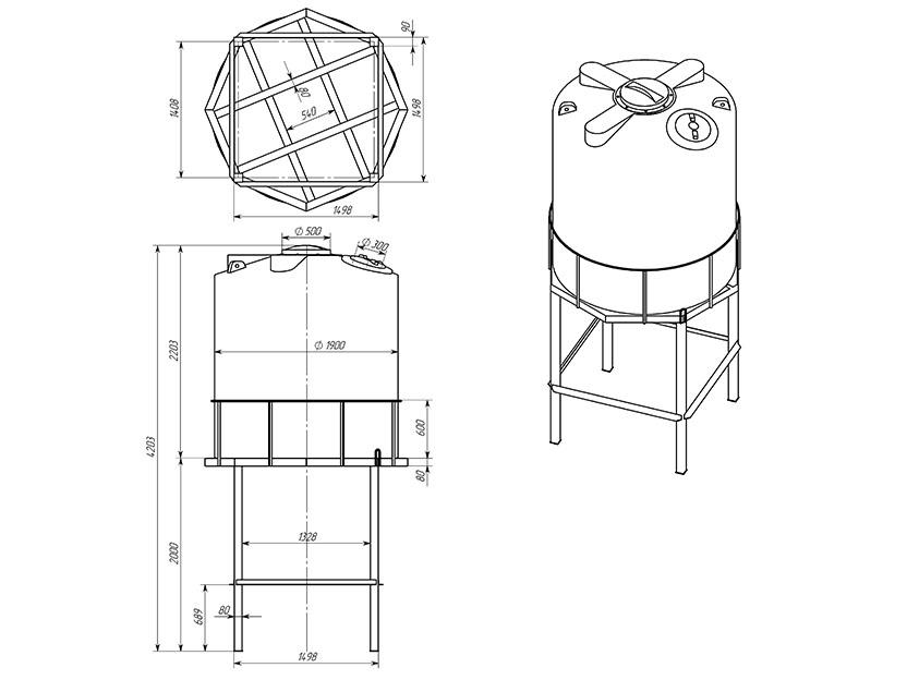 Емкость ТЦВП-5000 на опоре