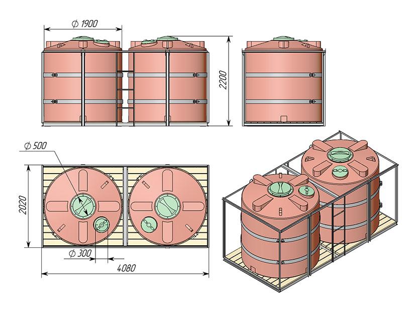 Емкость ТЦВП-5000 в двойной кассете для КАС