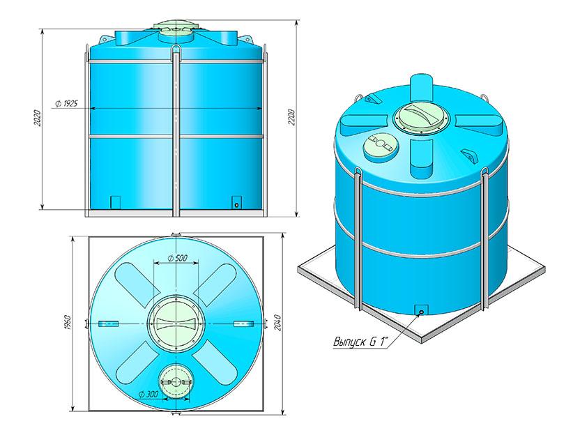 Емкость ТЦВП-5000 в обрешетке