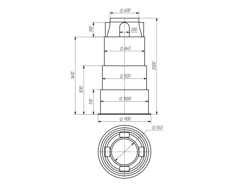 Колодец КД-1200 (без днища)